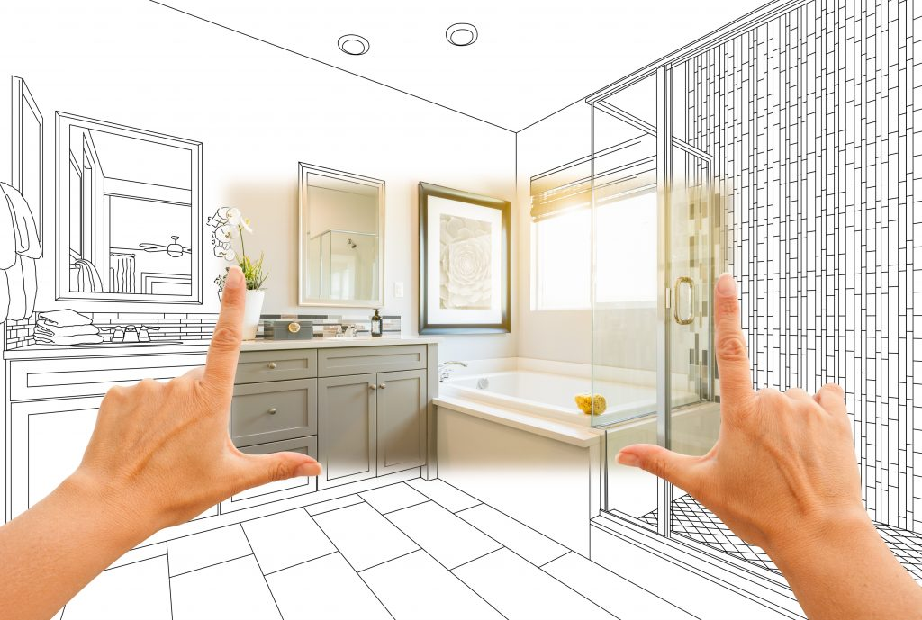 Master bathroom photo section with drawing behind | Budget Flooring, Inc.